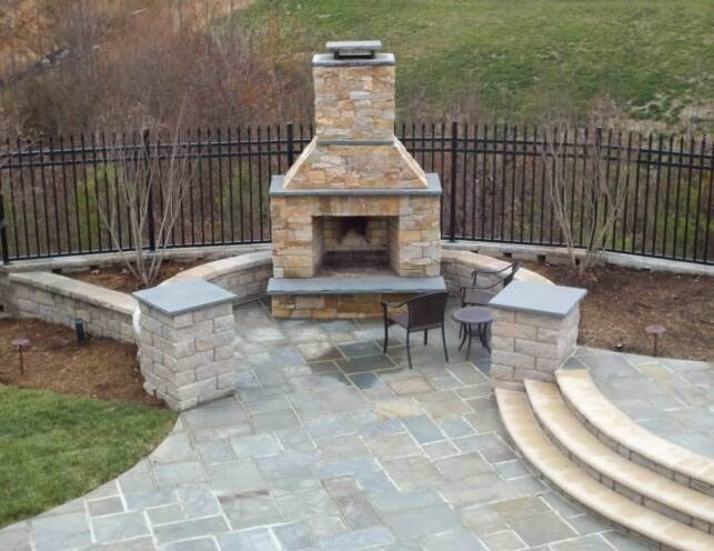Medium Outdoor Fireplace Flagstone Carville Landscape Co Glen Allen, VA