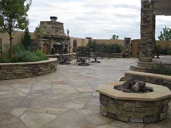Outdoor Living, Outdoor Room Flagstone Accent Landscapes Colorado Springs, CO