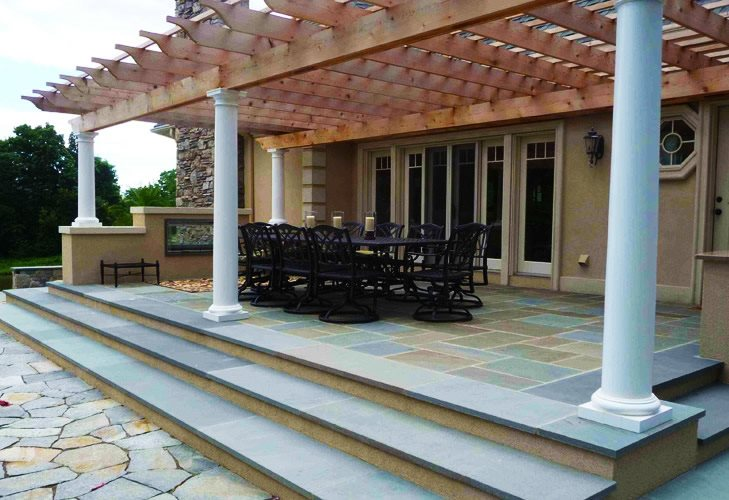 Patio Cover Columns Flagstone Christensen Landscape Services Northford, CT