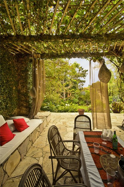 Patio, Covered, Cozy, Mediterranean Flagstone Landscaping Network Calimesa, CA