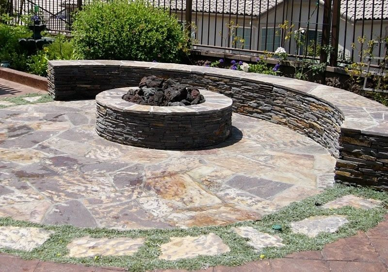 Round Stone Fire Pit Flagstone Designs by Shellene San Diego, CA