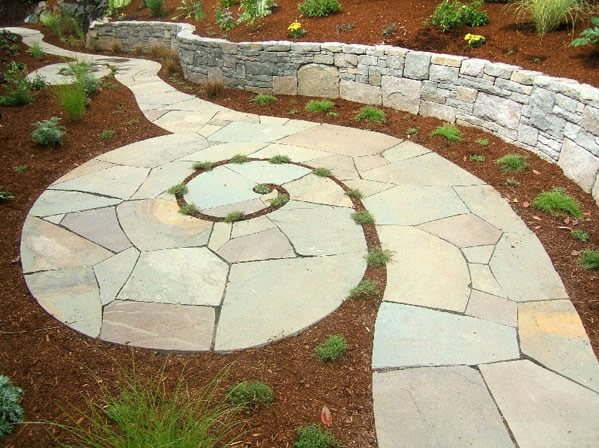 Spiraling Bluestone Walkway Flagstone Beautiful Bones & Purple Stones Landscape Design Portland, OR