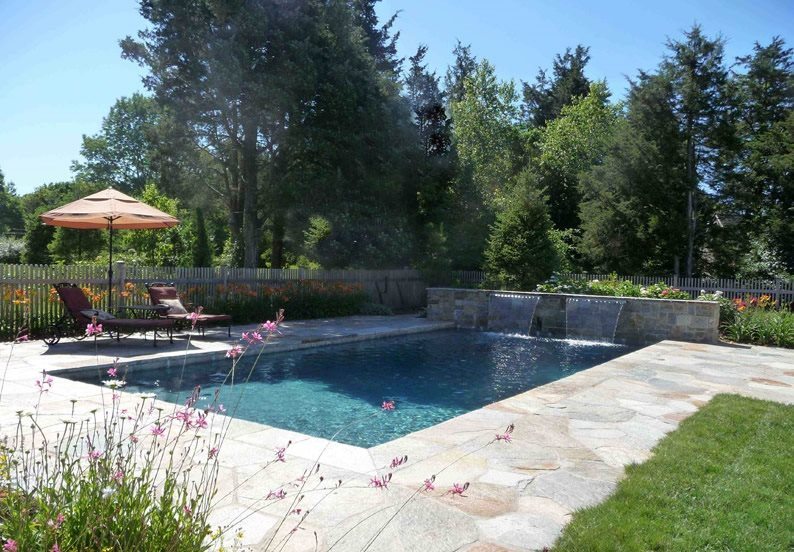 Swimming Pool Waterfalls Flagstone Christensen Landscape Services Northford, CT