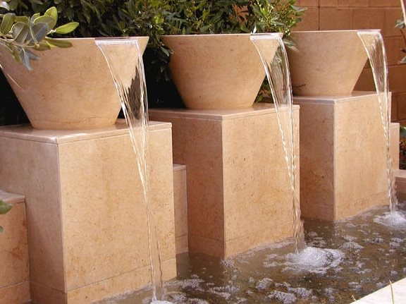 Contemporary Fountain Design Fountain AMS Landscape Design Studios Newport Beach, CA