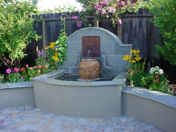 Corner Fountain Fountain Douglas Landscape Construction San Jose, CA