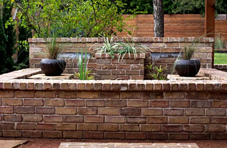 Custom Brick Fountain Design Fountain GreenScapes Landscaping and Pools Austin, TX