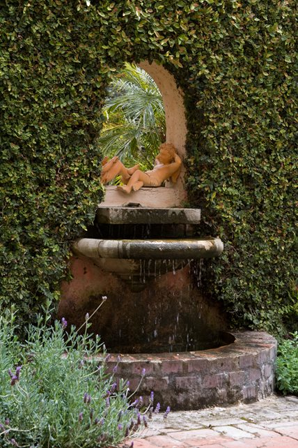 Custom Wall Fountain, Brick Basin Fountain Grace Design Associates Santa Barbara, CA