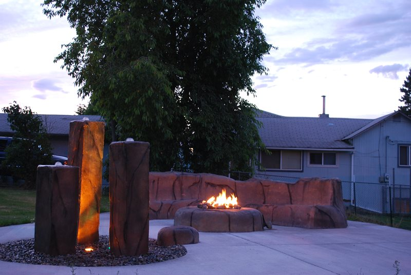 Faux Rock Fire Pit, Faux Rock Fountain Fountain Steven Duval Construction LLC Enumclaw, WA