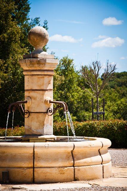 French Limestone Fountain Fountain Ecotones Landscapes Cambria, CA