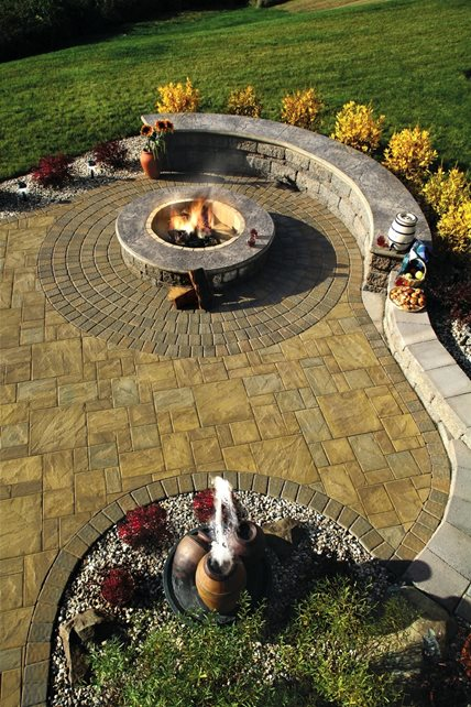 Ledgestone Pavers, Wood Burning Fire Pit Fountain Aztlan Outdoor Living Highland, NY