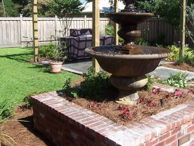 Tiered Fountain, Brick Planter Fountain Angelo's Lawn-Scape Of Louisiana Inc Baton Rouge, LA