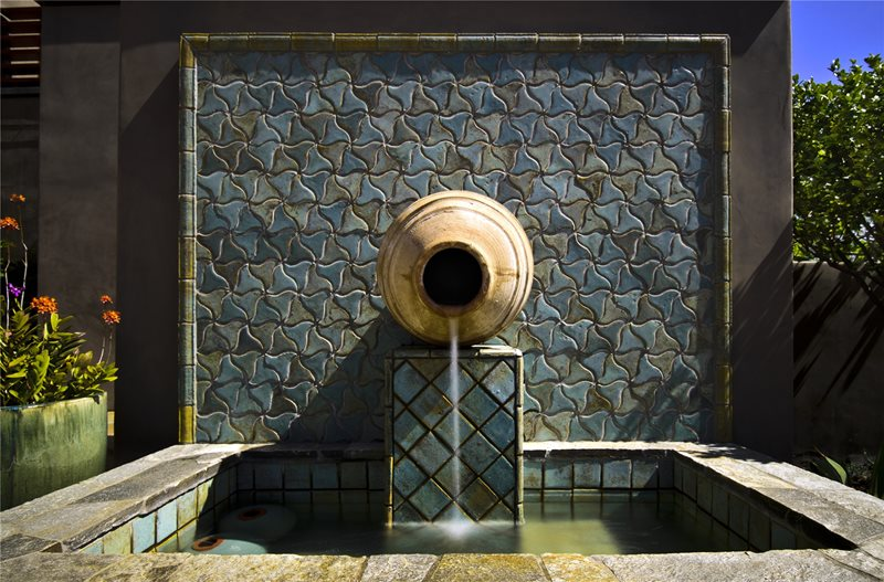 Urn, Fountain, Blue, Tile, Square, Basin Fountain Landscaping Network Calimesa, CA