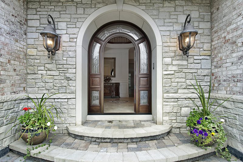 Contemporary Porch, Arched Door, Curved Steps Front Porch Landscaping Network Calimesa, CA