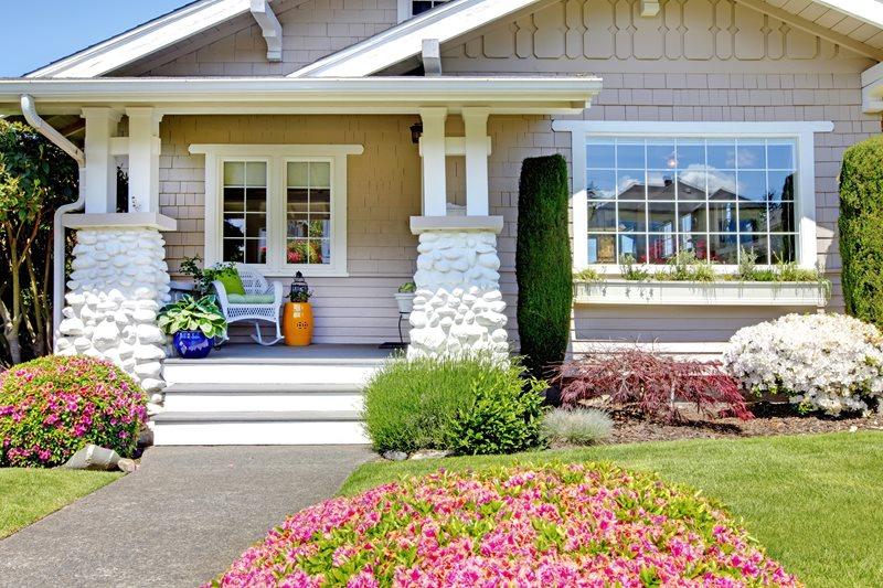 Craftsman Porch, Stone Columns Front Porch Landscaping Network Calimesa, CA