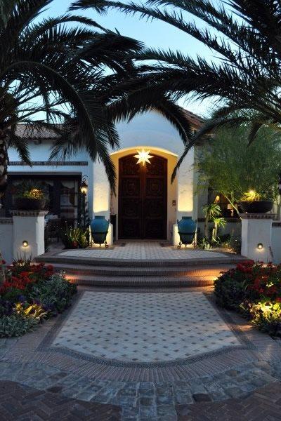 Front Door Lighting, Front Door Landscaping Front Porch Exteriors by Chad Robert, Inc. Phoenix, AZ