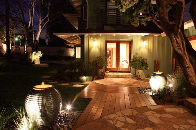 Front Entrance Landscaping, Front Entrance Lighting Front Yard Landscaping FormLA Landscaping, Inc. Tujunga, CA
