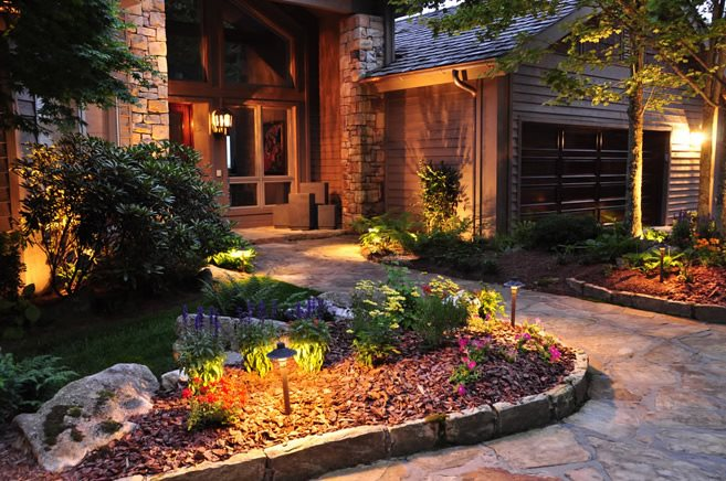 Front Entry Lighting Front Yard Landscaping Greenleaf Services Inc. Linville, NC