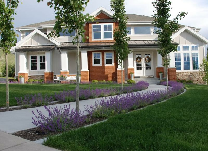 Front, Walkway, Curved, Concrete, Purple Front Yard Landscaping Ag-Trac Enterprises Logan, UT