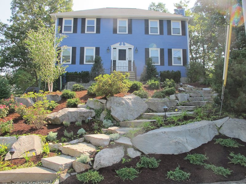 Sloping Front Yard, Granite Boulders Front Yard Landscaping Olde New England Granite Lynnfield, MA