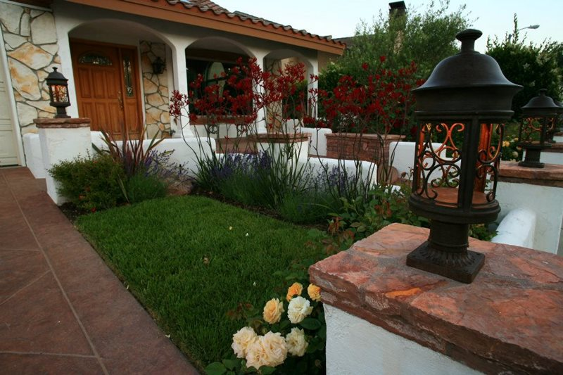 Landscaping Ideas For Front Yard Part - 46: Spanish Mission Front Yard, Kangaroo Paws Front Yard Landscaping Lisa Cox Landscape  Design Solvang,