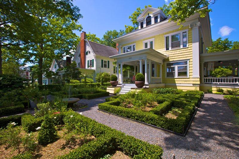 Formal Front Yard, Front Yard Hedges Garden Design A J Miller Landscape Architecture Syracuse, NY