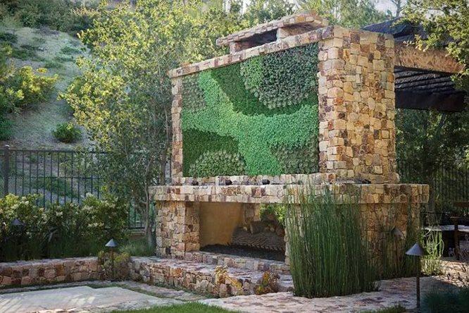 Stone Outdoor Fireplace, Living Wall Garden Design Seasons Landscaping Laguna Beach, CA