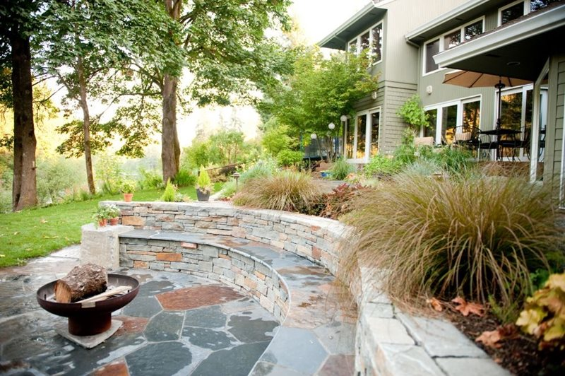 Woodland, Rustic, Grasses, Fire Pit, Seat Walls Garden Design Gregg and Ellis Landscape Designs Portland, OR