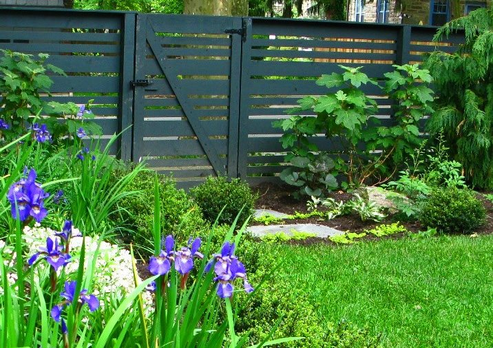 Horizontal Fence Boards, Black Fence Gates and Fencing Livable Landscapes Wyndmoor, PA