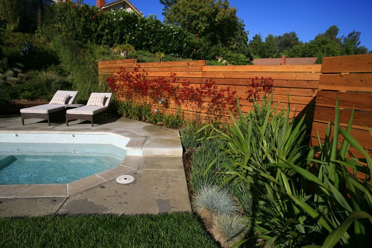 Modern Horizontal Fence Gates and Fencing Lisa Cox Landscape Design Solvang, CA