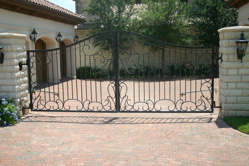 Wrought Iron Driveway Gate Gates and Fencing GreenScapes Landscaping and Pools Austin, TX