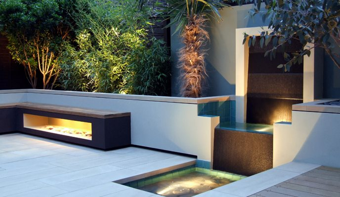 Urban Garden, Granite Water Feature International Landscaping MyLandscapes LTD London, UK