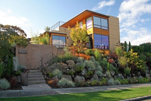 Front Yard Hillside Lawnless Landscaping Banyon Tree Design Studio Seattle, WA