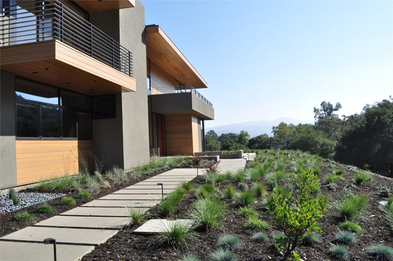 Front Yard With Walkway Lawnless Landscaping Huettl Landscape Architecture Walnut Creek, CA
