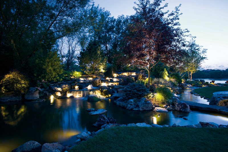 Backyard Waterfall Lighting Lighting Small's Landscaping Inc Valparaiso, IN