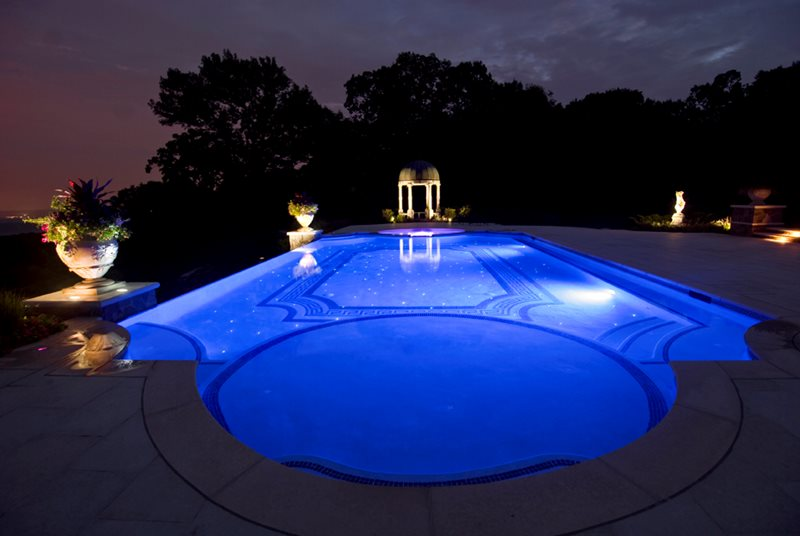 Classical Swimming Pool, Fiber Optics Lighting Cipriano Landscape Design Mahwah, NJ