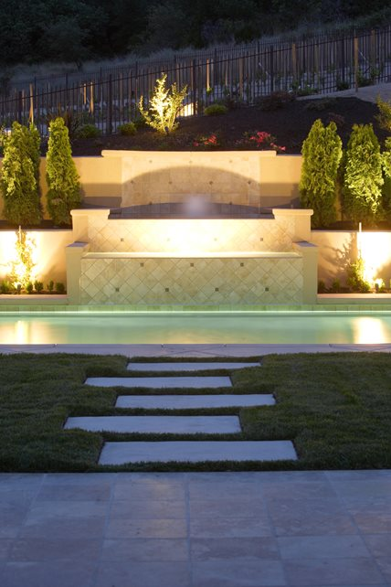 Custom pool fountain night lighting lighting landscaping network calimesa ca