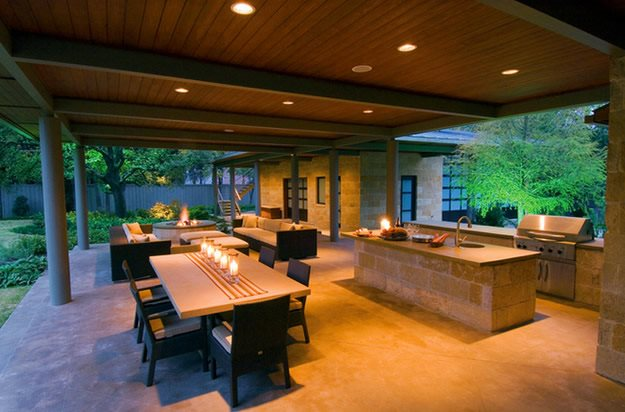 Outdoor Kitchen, Concrete, Night Lighting Bonick Landscaping Dallas, TX