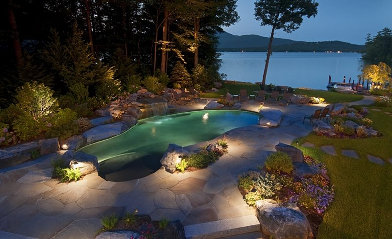 Pool At Night Lighting Belknap Landscape Co., Inc. Gilford, NH