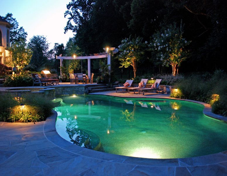 Pool Night Lighting Lighting Botanical Decorators Olney, MD