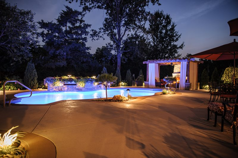 Raised Pool Planter, Pool Lights Lighting Artistic Group Inc. St. Louis, MO