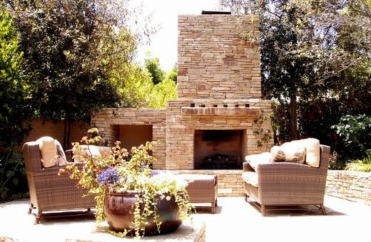 Large Outdoor Stone Fireplace Mediterranean Fireplace AMS Landscape Design Studios Newport Beach, CA
