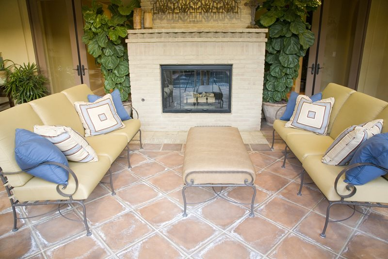 Mediterranean Fireplace, Terra Cotta Patio Mediterranean Fireplace Landscaping Network Calimesa, CA