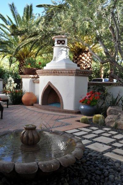 Morrocan Landscaping Mediterranean Fireplace Exteriors by Chad Robert, Inc. Phoenix, AZ
