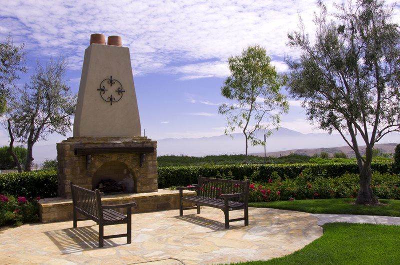 Southwest Outdoor Fireplace, Stone Stucco Fireplace Mediterranean Fireplace Landscaping Network Calimesa, CA