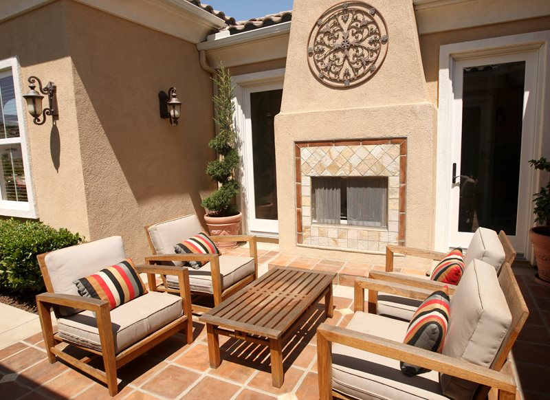 Southwest Patio Fireplace, Stucco Tile Fireplace Mediterranean Fireplace Landscaping Network Calimesa, CA