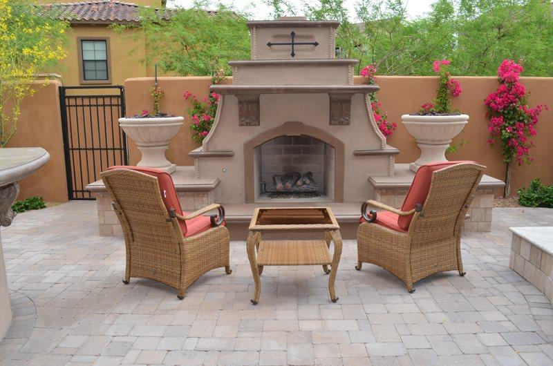 Southwestern Fireplace, Short Outdoor Fireplace Mediterranean Fireplace Lone Star Landscaping Phoenix, AZ