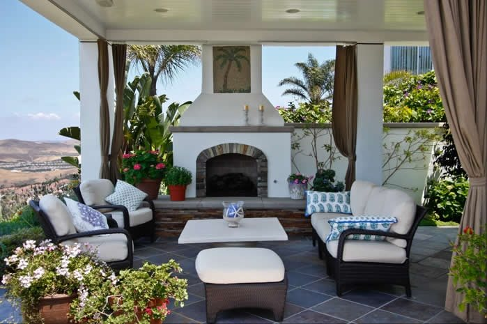 Stucco Outdoor Fireplace Mediterranean Fireplace Oakbrook Landscape, Inc. Capistrano Beach, CA
