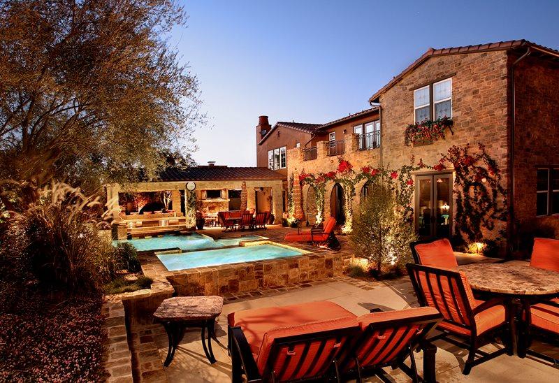 Mediterranean Backyard, Stone Hardscapes Mediterranean Landscaping Urban Landscape Inc. Newport Beach, CA