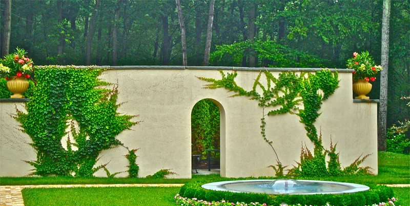Round Fountain, Arch, Climbing Vines Mediterranean Landscaping Liquidscapes Pittstown, NJ