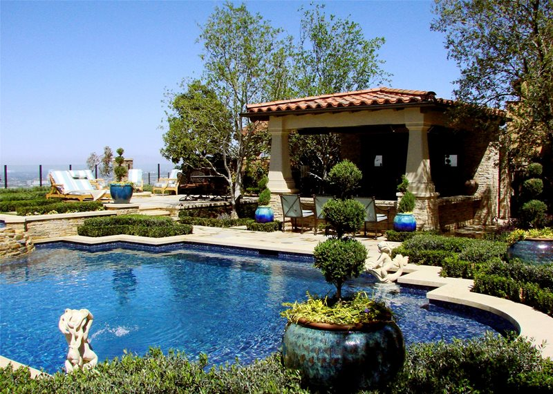 Backyard Resort Mediterranean Pool AMS Landscape Design Studios Newport  Beach, CA
